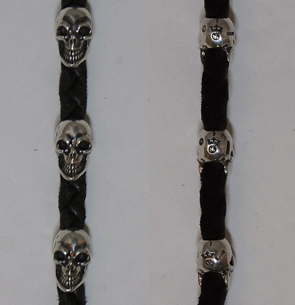 Photo4: Skull On Cross Oval W/Crown Keeper & 2Panther Heads & Old Skulls With Braided Leather Chain,