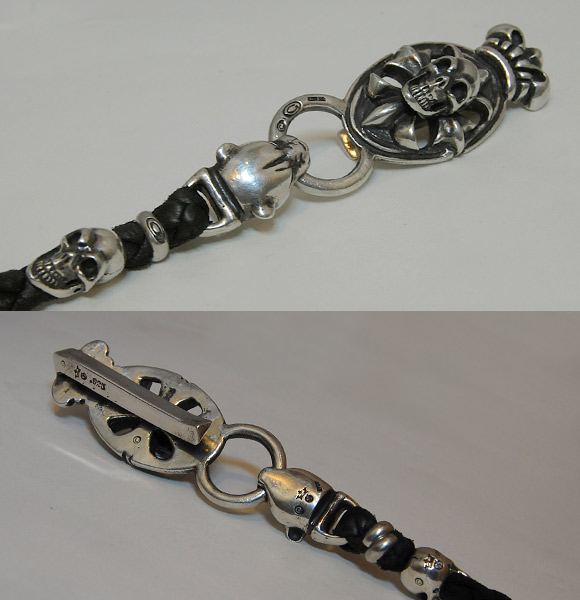 Photo2: Skull On Cross Oval W/Crown Keeper & 2Panther Heads & Old Skulls With Braided Leather Chain,