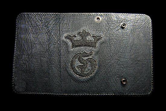 Photo3: Stingray G&Crown Inlay Shark Long Wallet