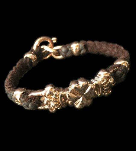 Photo1: 10k Pink Gold Half 4Heart Crown Braid Leather Bracelet