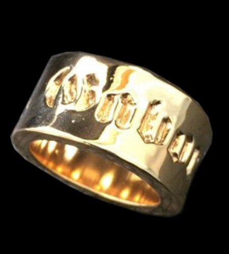 Photo1: 10k Gold Wide Gaboratory Cigar Band Ring