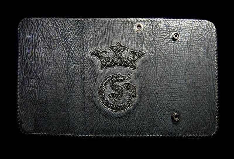 Photo1: Stingray G&Crown Inlay Shark Long Wallet
