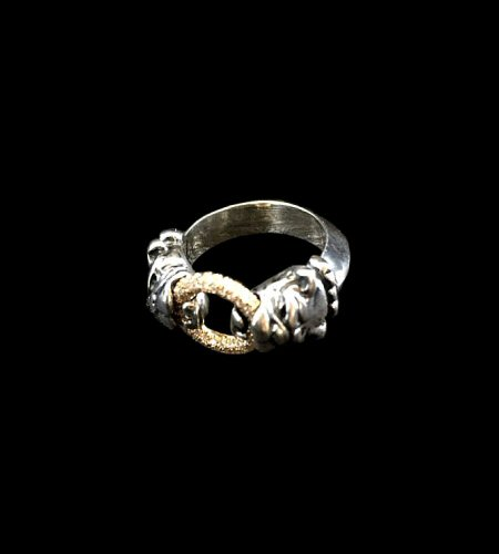 Photo1: Pave Dia On 18K Gold Ring With 1/9 Old Bulldog Ring