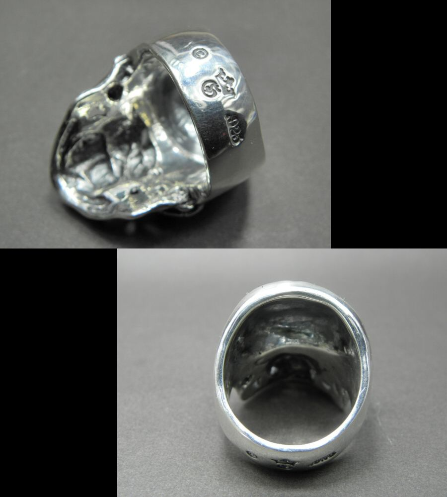 Photo3: Large Skull Ring with Jaw